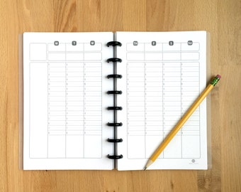 "Timed - Weekly Planner Page - Organizer - Undated - Printed - Disc Bound Planner - Fits Circa, Arc, Junior-Half Page Size - 5.5""x8.5"""