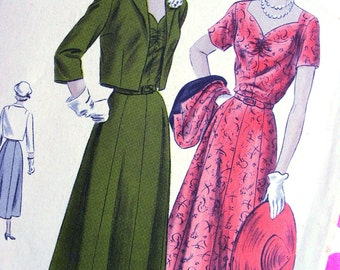 1940s  Vogue  Pattern 6795  -  Ladies' Fancy Dress and Fitted Bolero  - Size 16 * Bust 34 * FACTORY FOLDED