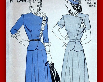 1940's Advance Pattern 3761  - Two Piece Suit Dress with Asymmetrical Peplum  * Size 12, bust 30 * FACTORY FOLDED