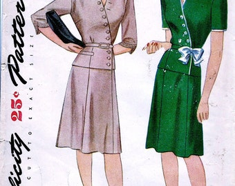 1940s  Simplicity Pattern  1047 * FF * Stunning Misses' Two Piece Surplice Peplum Dress   * Size 14 *  Bust 32