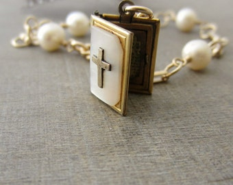 Gold Cross Locket, Gold Locket Bracelet, Heavy Gold Chain, Vintage Charm, Chunky Chain, Gold Pearl Bracelet, June Birthstone, Book Locket