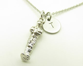 Mummy Necklace, Mummy Charm Necklace, Initial Necklace, Personalized, Stamped Initial Letter, Monogram Necklace, Egyptian Mummy Charm Y234