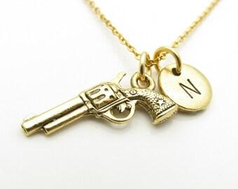 Gun Necklace, Revolver Necklace, Hand Gun Necklace, Antique Gold Gun Charm, Personalized, Monogram, Initial Necklace, Cowboy Themed Z388