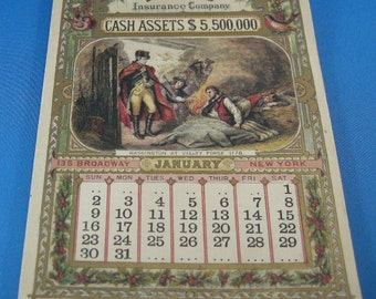 Antique 1876 Historical Paper Calendar, Centennial Calendars, 1776- 1876 Centennial Home Insurance Company Almanac Calendar, **USA ONLY**