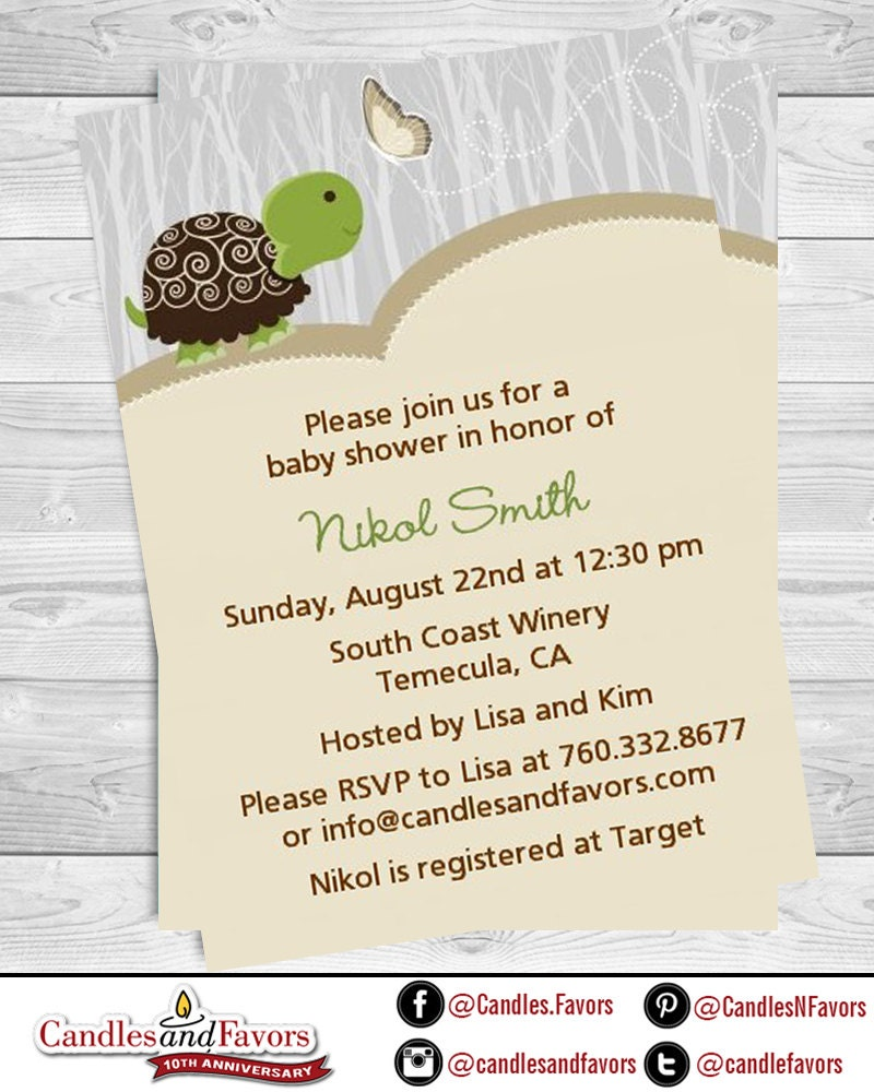 turtle baby shower invitation pink or blue turtle baby