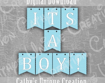 It's A Boy Banner, Blue Polka Dots, Baby Shower, Gender Reveal Party, Photo Prop, Printable, Wall Sign, DIY Digital Download, A4, Letter