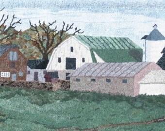 Hooked Rug Pennsylvania Barns Hand Hooked Wall Hanging Hooked Rug Original Art Pennsylvania Landmark Rug Hooking Artist John Flournoy