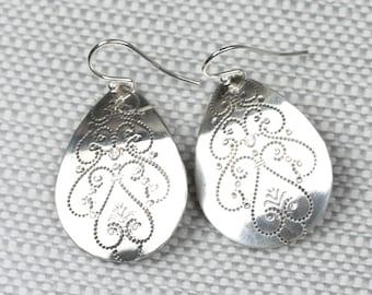 Sterling Silver Teardrop Dangle Earrings, Big Silver Teardrop Earrings, Embossed Silver Drop Earrings, Handmade Silver Jewelry, Nickel Free