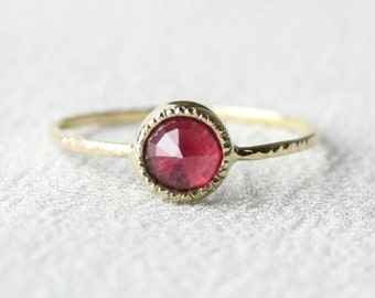Rose Cut Ruby 14k Gold Ring - Solid 14k Rose or Yellow Gold - Hammered Band and Millgrain Edge - Bezel Set Ring with July Birthstone