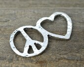 Peace and Love Connector, 10pcs,   Metal Charms, Peace Sign Charm – C320