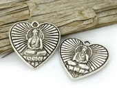 Buddha Heart  Charm, 6pc, 25mm, Silver Buddha Charm   - C604