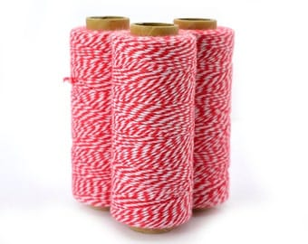 Red Bakers Twine,  136 Yards, Cotton Bakers Twine, Red And White Bakers Twine, Cotton Twine  - BT1