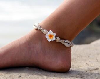 Hemp Shell Anklet, Beach Anklet, Wood Beads, Macrame Anklet, Flower Anklets