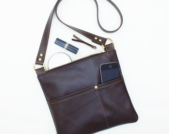 Brown Leather Cross Body Bag, Everyday Leather Bag, Small Travel Cross Body Bag, Brown Leather Shoulder Bag, Small Leather Messenger Bag
