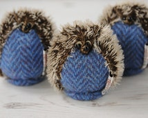 Harris Tweed Hedgehog Ornament, Mohair Hedgehog, Hedgehog gift, Save our Hedgehogs