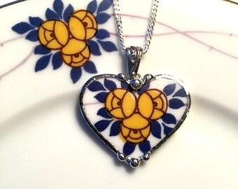 Broken China Jewelry Heart Pendant necklace antique porcelain Art Nouveau yellow rose