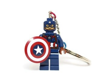Captain America Key Chain made from GENUINE Superhero LEGO (r) Minifigure - NEW Detailed Suit