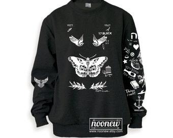Harry Styles Tattoos Black Sweatshirt Sweater Crew Neck Shirt – Size S M L XL