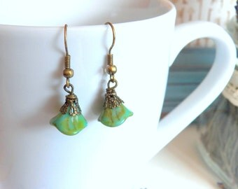 Vintage Inspired Flower Earrings, Antiqued Brass Wire Wrapped Green Glass Flowers, Handmade Jewelry by HoneyNest