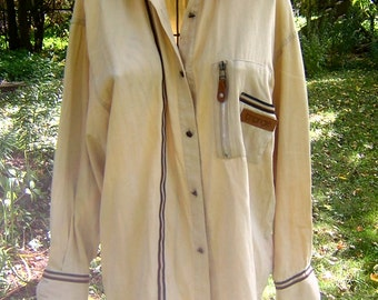 Vintage 1980s Safari Style Woman's Shirt - Tan Cotton Shirt with Leather Trim, Ribbon Trim and Metal Buttons