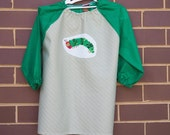 Child's art smock -  age 3 to 4 - hungry green caterpillar