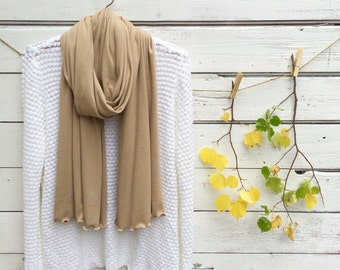 Long Scarf, Beige Scarf, Fall Scarf, Tan Scarf, Oversized Scarf, Winter Scarf, Wrap, Shawl, Chunky Scarf, Jersey Scarf, Gift Idea for Her