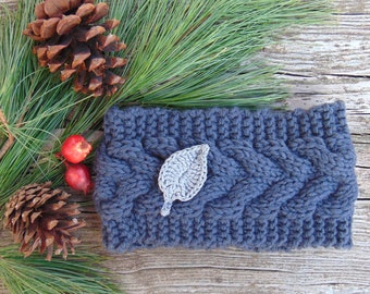 Knit Headband, Grey Headband, Winter Headband, Hair Band, Ear Warmer, Knitted Headband, Women Headband, Stocking Stuffer, Gift Idea