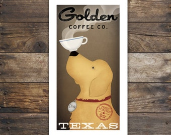 Personalized GOLDEN RETRIEVER Coffee Company graphic art giclee print Signed