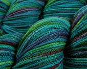 Hand Dyed Yarn - Worsted Weight Superwash Merino Lambswool Yarn - Aegean Multi - Knitting Yarn, Wool Yarn, Blue Green Turquoise Purple