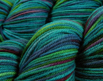 Hand Dyed Yarn - Worsted Weight Superwash Merino Lambswool Yarn - Aegean Multi - Knitting Yarn, Wool Yarn, Blue Green Turquoise Purple