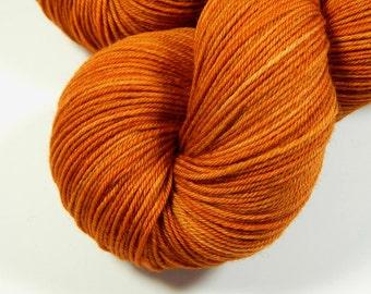 Hand Dyed Yarn - Sock Weight 4 Ply Superwash Merino Wool Yarn - Copper - Knitting Yarn, Sock Yarn, Fingering Yarn, Orange Tonal, Craft Gift