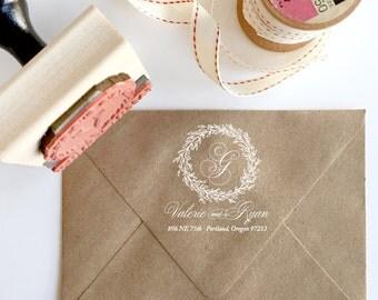 Custom Monogram Stamp - YOUR CUSTOM WORDING - Laurel Wreathe