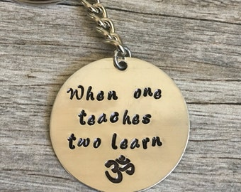 gift for yoga teacher, yoga, yoga quote, namaste, om, yogi, yoga gifts, yoga gift for teacher, when one teaches two learn, yoga accessories