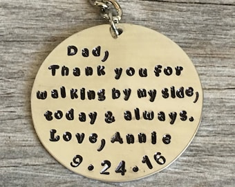 father of the bride gift, gift for dad, wedding day gift for dad, from daughter to dad, dad gift, thank you for walking by my side today