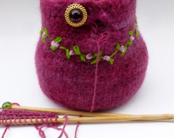 Yarn bowl felted wool Yarn holder ready to ship
