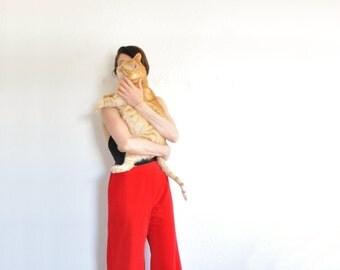 high waist red velvet pant . 1970 wide leg bell bottom . super groovy .medium.large