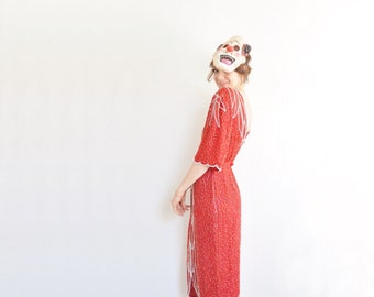 ruby red razzle dazzle beaded gown .  1980 trophy wife dress .medium.large .disaster relief