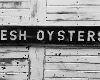 Beach Sign Fresh Oysters Coastal Cottage Kitchen Decor
