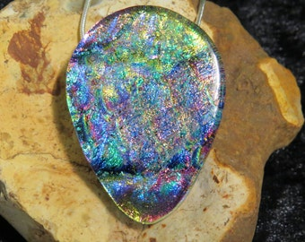 Dichroic Glass Pendant - Fused Glass Jewelry - Dichroic Glass - Fused Glass - Dichroic Jewelry - Fused Glass UK - Teardrop Dichroic Pendant