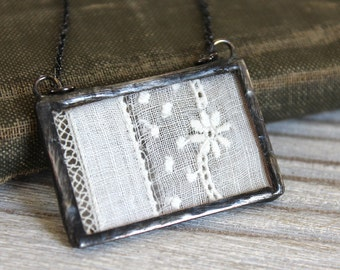 Handmade Antique Lace & Glass Soldered Necklace