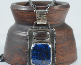 azurite and rosewood pendant necklace in sterling silver