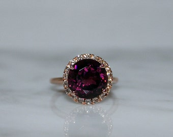 Rubelite Tourmaline and Diamond Halo Engagement Ring, Right Hand Ring, Appraisal Included