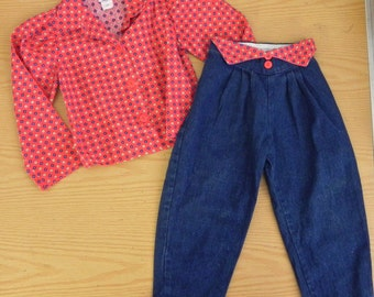 Vintage Girls 2 pc Outfit - Toddler Jeans and Top 3T 3 T - on sale