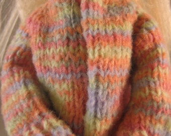 Hand Knit Doll Clothes Multi Color Cardigan Sweater fits 11 1/2 inch fashion doll such as Barbie