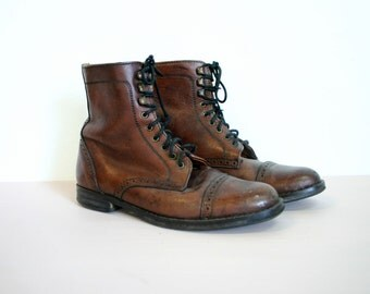 Vintage 1980s Charles De Nevel Leather Lace Up Ankle Boots Womens Size 7-7.5