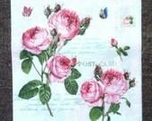 PN-73. Roses Paper Napkins for Decoupage Napkins with Roses Napkins for Art Luxury Design Wedding Birthday DECOUPAGE SERVIETTE