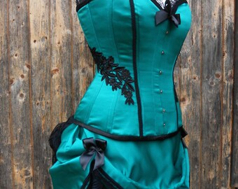 Bespoke Burlesque Corset and Bustle Costume Circus Show Girl Emerald Green Available in other Colours