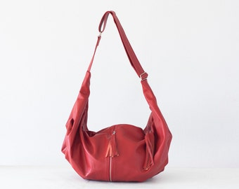 Red leather cross body bag, hobo bag shoulder purse caryall bag crossover long strap bag -Crossbody Kallia bag