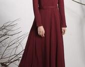 burgundy dress, Maxi dress, linen dress, long dress, Red dress,  women dresses, Custom dress, long sleeve dress,spring dress  (1138)