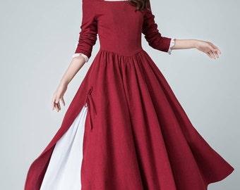 burgundy dress,Red Linen Dress, long sleeve dress, Spring Dress, Prom Dress,square neck dress,slit dress, long maxi dress, custom dress 1473